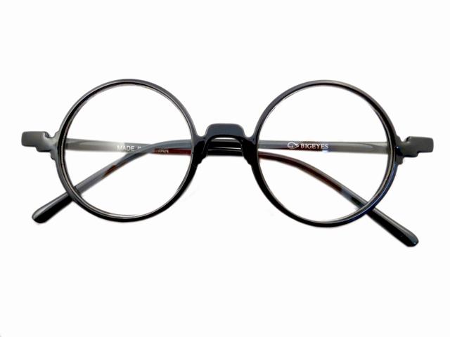 14W/Sラウンド型丸眼鏡 ブラック1
