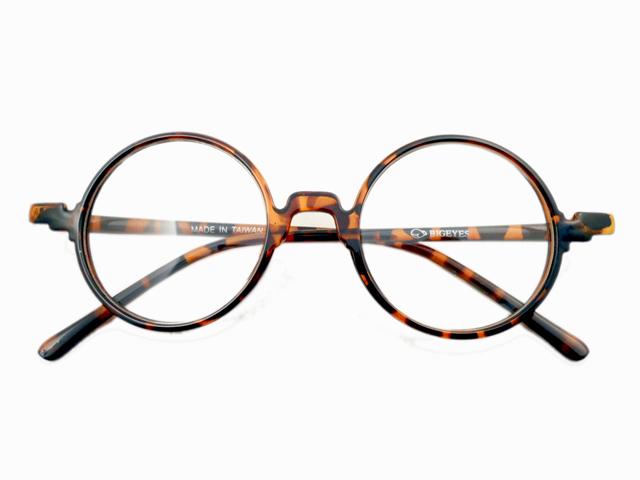 14W/Sラウンド型丸眼鏡 ブラウン1